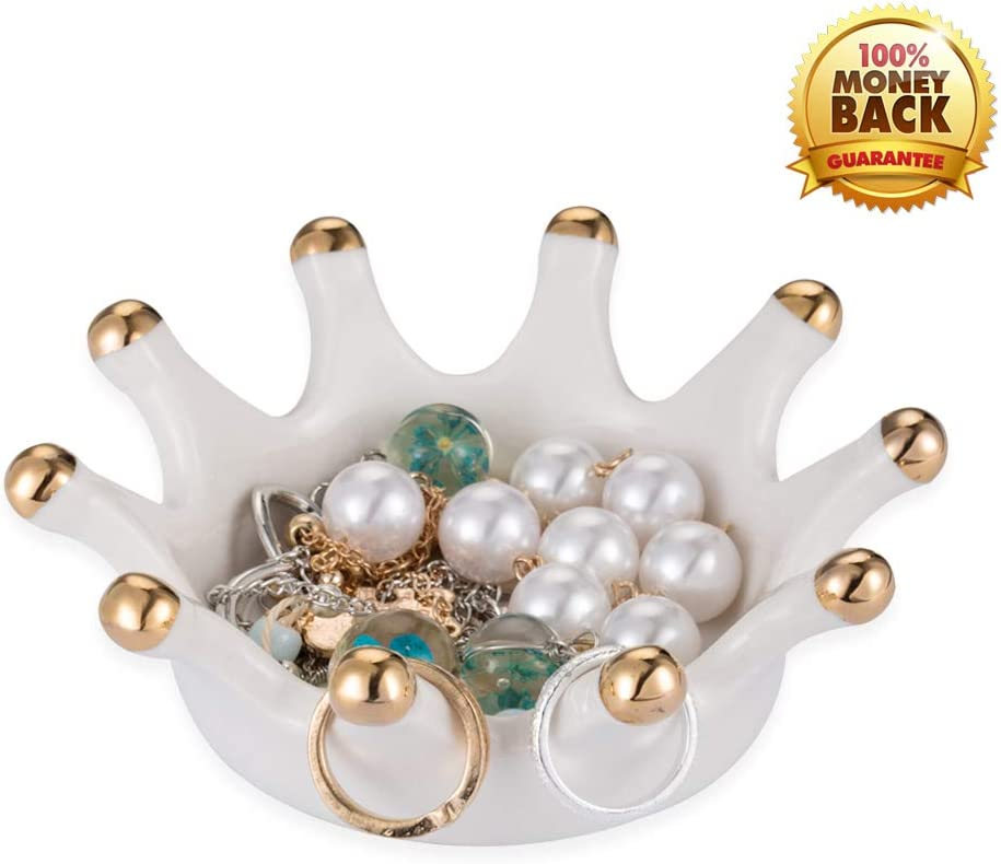 YINTRADE Jewelry Ring Holder, Ceramic Crown Ring Holder Dish, Earring Necklace Bracelets Holder, Home Room Decor Dish Organizer Jewelry Trinket Trays for Girls Women Ladies