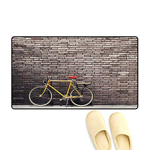 - Doormat,Past Times Aesthetic Road Bike Lean Brick Wall Outdoor Daily Town Life Photo,Bath Mat 3D Digital Printing Mat,Grey Yellow Red,20