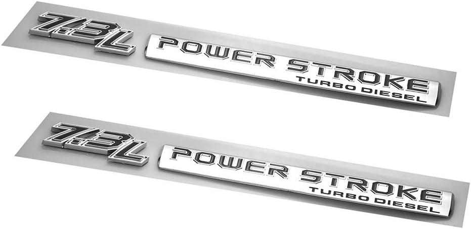 EmbRoom Pair Set 7.3L Power Stroke Turbo Diesel Emblems 3D Badge Sticker Compatible for 7.3 Power Stroke Chrome Black