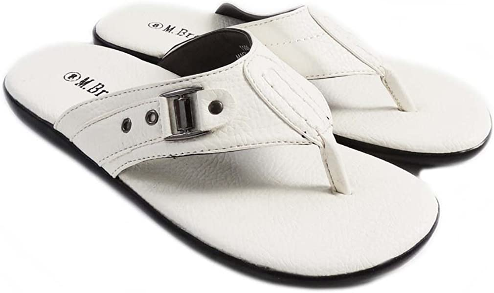 3418f6be7e28d M. Brother Mens Shoes Slides Comfort FLIP Flops Thongs Sandals 1109   White  (7