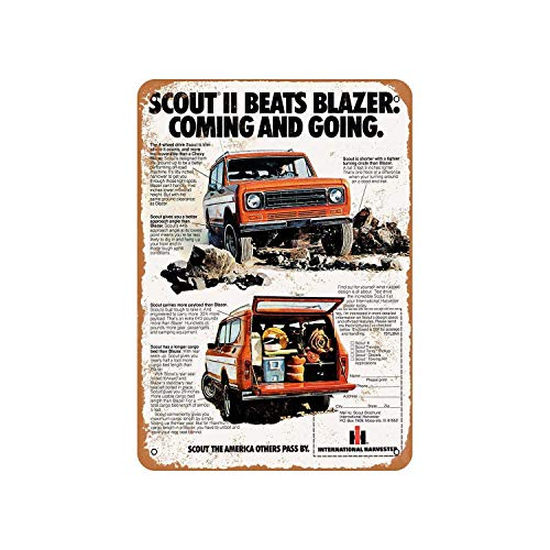 Fhdang Decor Vintage Pattern 1977 International Scout II 2 Vintage Look Aluminum Sign Metal Sign,6x9 Inches