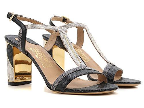 Ferragamo sandalias de tacón en cuero patchwork - Número de modelo: 0633579 Beige