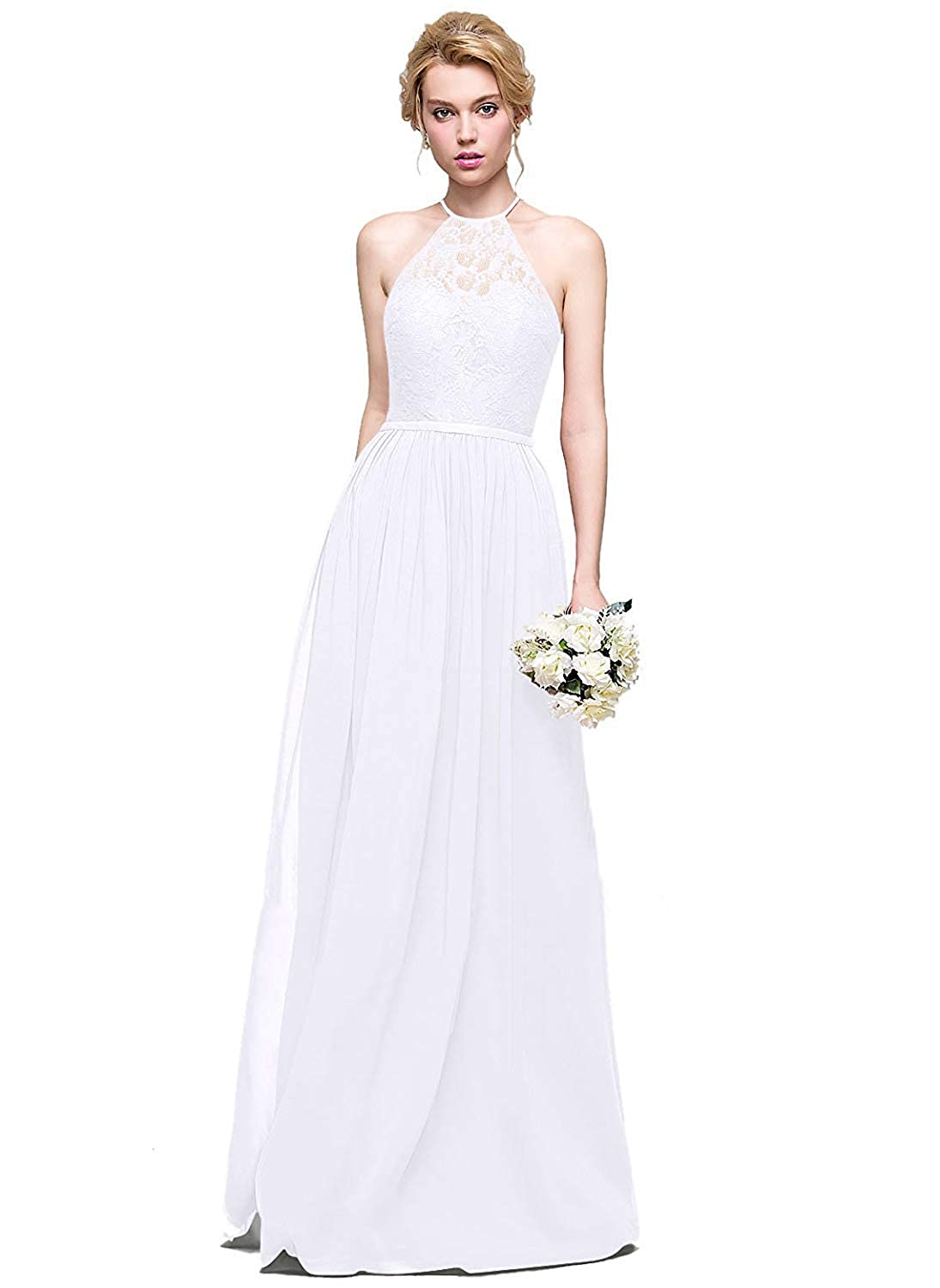 White Halter Lace Sweetheart Neck Bridesmaid Dresses Long Prom Evening Gown