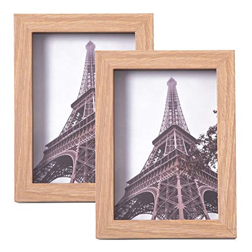 Oak Dog Frame - Muzilife 5x7 Picture Frame Flat Photo Frame Set with Glass Cover for Wall & Tabletop Display 3D Deep Depth 1.2 Inches, Set of 2 (Oak)