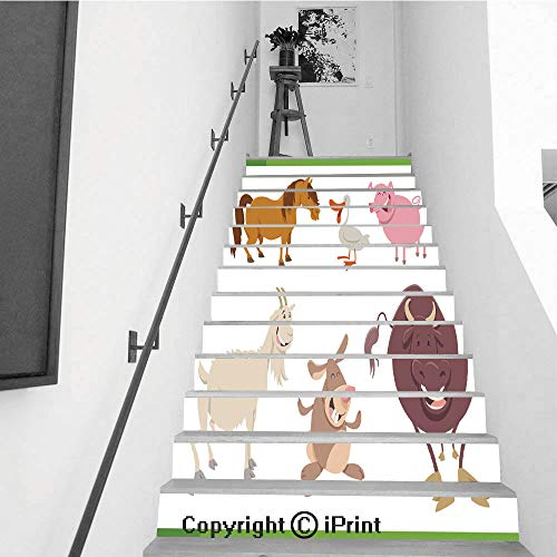 Self-Adhesive Stair Riser Decal - Stair Stickers Decals Wallpaper for Walls Kitchen Bathroom Stair Decals Home Decorations,13 PCS,Cute Farm Animal Characters Set