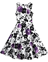 Creti Women's Vintage Classy 1950s Floral Sleeveless Party Picnic Cocktail Dress