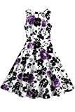 Creti Women's Vintage Classy 1950's Floral Sleeveless Party Evening Picnic Spring Garden Dress Cocktail Dress (XL, Purple)
