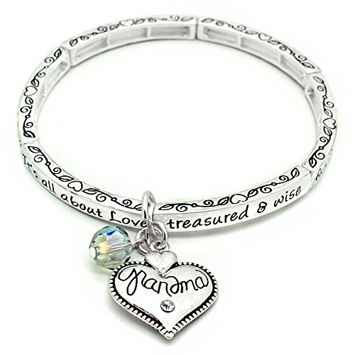KIS-Jewelry All About Love Charm Bracelet, 'Grandma' - This Silver Plated Stretchy Bangle Bracelet Is The Perfect Gift Making Any Mom Feel Special And Loved - Contortionist Costume