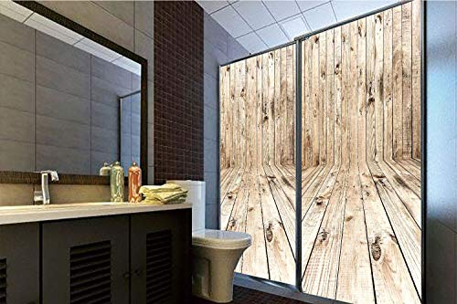 Horrisophie dodo 3D Privacy Window Film No Glue,Beige,Picture of an Empty Wooden Old Fashioned Room Timber Folk Style Classic Nature Art Decorative,Light Brown,47.24