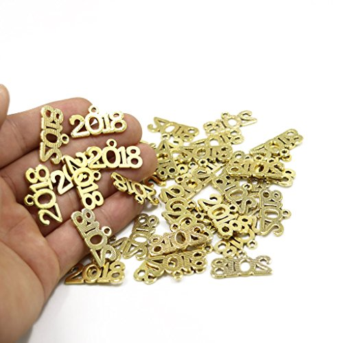 New Arrive 40PCS of Jewelry Making 2018 Word Metal Charm Pendants 2310mm (Antique gold)