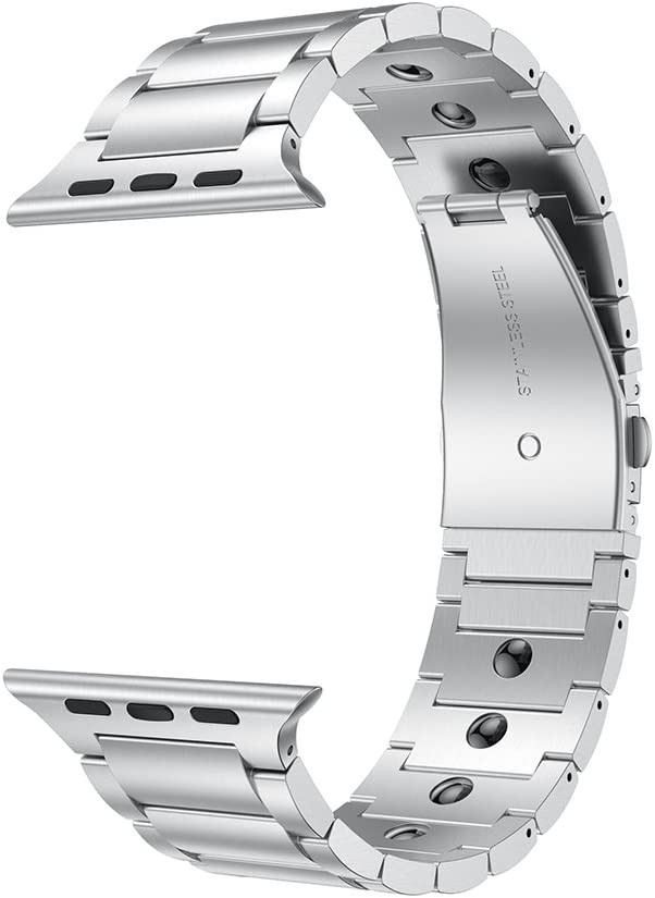 LDFAS Compatible for Apple Watch Band 44mm 42mm, Magnetic Therapy Stainless Steel Metal Link Bracelet Bands for iWatch Bands Compatible for Apple Watch SE, Apple Watch Series 6/5/4/3, Silver