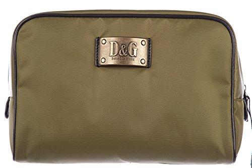 Price comparison product image Dolce&Gabbana men's Nylon travel toiletries beauty case wash bag logo green
