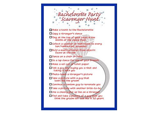 image about Printable Bachelorette Party Games named : Bachelorette Bash Scavenger Hunt List