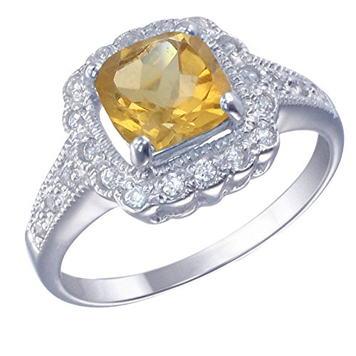 7 MM Cushion Cut Citrine Engagement Ring .925 Sterling Silver Size 5 (Cut Fashion Citrine Ring Cushion)