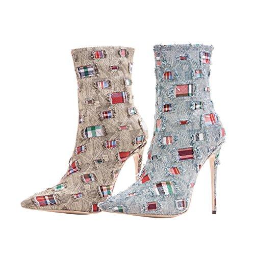 ENMAYER Frauen Sexy High Heels Pumps Stilett Spitz Zeh Reißverschluss Western Style Party Kleid Schuhe Azul claro
