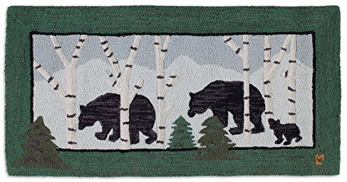 Beautiful Handmade Decorative Design Rug By Chandler 4 Corners Hand Hooked Three Bears in Birch Woods Rug 2'x4' - 100% Wool
