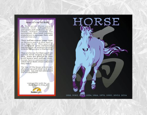 Goldenwave Creations Asian Oriental Chinese Zodiac Poster Year the Horse: 1942, 54, 66, 78, 90, 02, 2014
