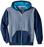 Fruit of the Loom Boys' Big Fleece Full Zip Hoodie Sweatshirt, Smoke Blue Stripe/T.Blue Amulet Teal Heather, Medium