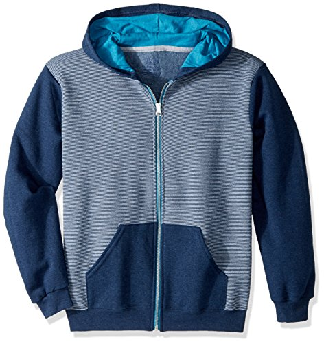 Fruit of the Loom Boys' Big Fleece Full Zip Hoodie Sweatshirt, Smoke Blue Stripe/T.Blue Amulet Teal Heather, Medium ()