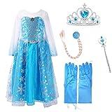 URAQT Ice Queen Princess Costume Inspired Snowflakes Train Dress +Accessories