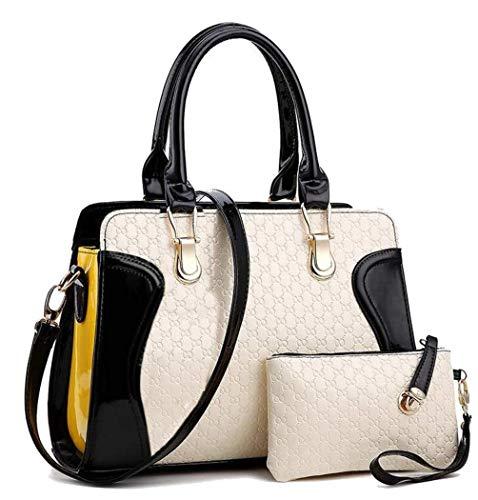 Womens Black & White Shoulder Bag With Wallet & Cute Teddy Bear-PU Leather Unique Handbags For Women -Ladies Satchel