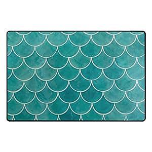 Florencia Cool peces escalas alfombrilla antideslizante para Doormats alfombra piso zona alfombra para salón o dormitorio, 31x 20cm
