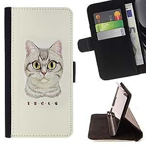 Dragon Case - FOR HTC One M9 - American shorthair - Caja de la carpeta del caso en folio de cuero del tir¨®n de la cubierta protectora Shell
