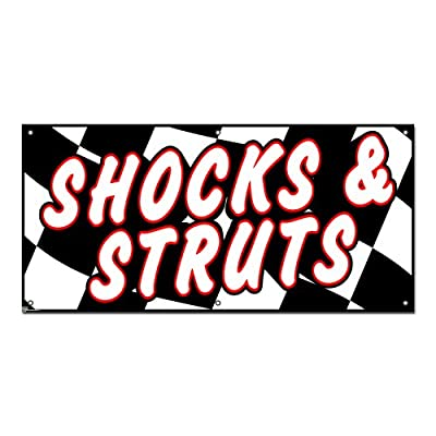 Shocks and Struts Checkered Flag - Automotive Cars Repair Promotion Business Sign 4'x2' Banner
