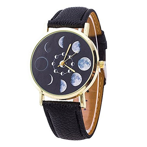 Polytree Unisex Moon Phase Astronomy Space Watch Faux Leather Band Quartz Wrist Watch (Black )