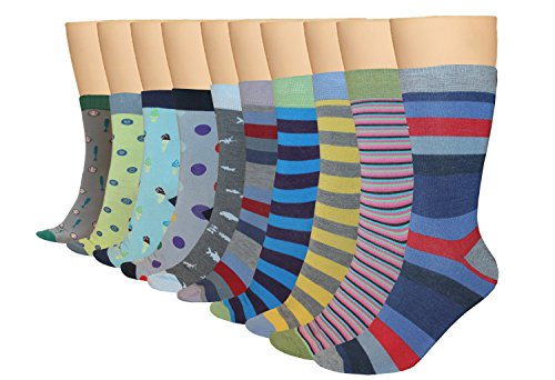 3KB Men's Dress Socks Summer Collection (10 Pairs Per Pack) Shoe Sizes 7 to 11 - Variety of Patterns