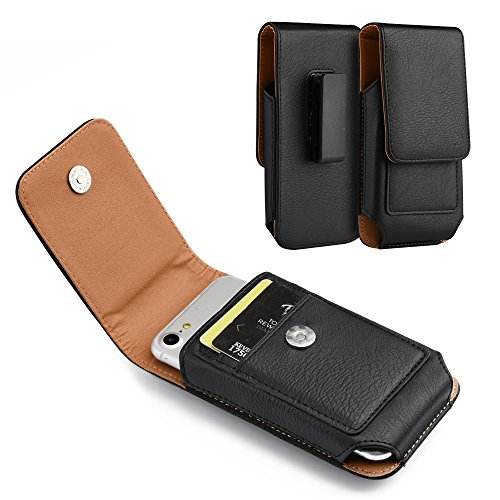 - Brown Leather Belt Clip Holster Case w/ 2 Credit Cards Slot for Alcatel Pop Icon 2 LTE, Tru, Pop 3, Verso, U5, idealXCITE, CameoX, Fiji, Raven, Tetra (Black)