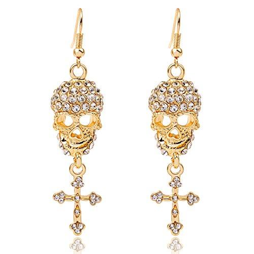 EVBEA Gothic Jewelry Skull Cross CZ Crystal Chandelier Big Hoop Unique Earrings for Women (Yellow)