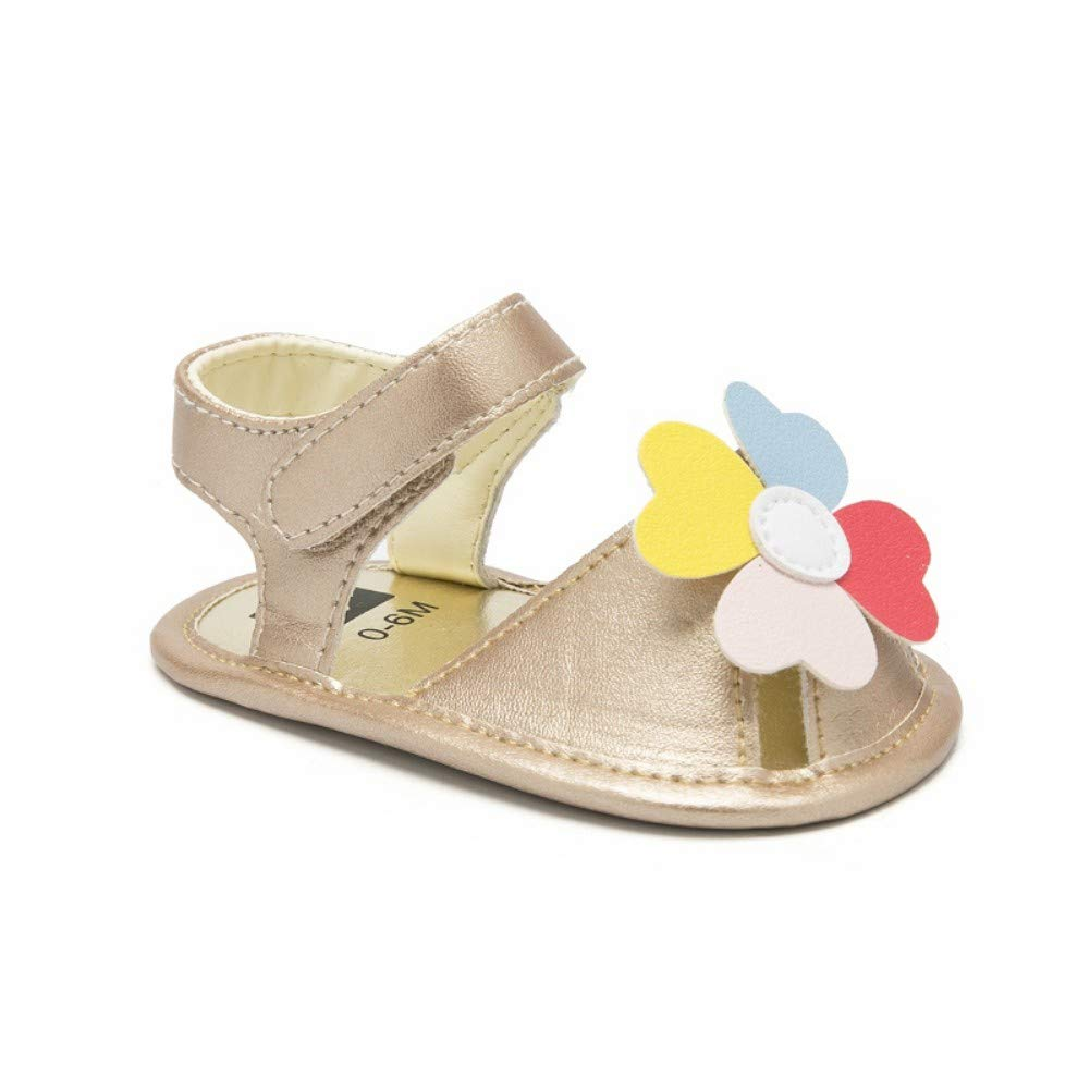 Happiekids Cute Newborn Infant Baby Girls PU Leather Flower Sandals Princess Party Shoes
