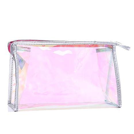cooljun bolsa de lápiz, transparente décoloré portátil maquillaje Zipper Bolsa cosmética baño viaje lavar cepillo