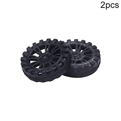MroMax 30mm Rubber Toy Car Wheel Tires DIY Model Robots 2pcs High wear Resistance Black: Toys & Games