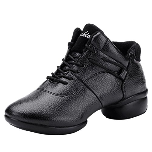 Jiyaru Women's PU Leather Lace Up Jazz Shoes Dance Sneaker Black Asia38 US7