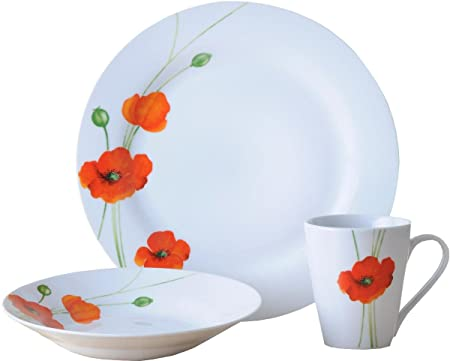 Rayware 12-Piece Alpine Poppy Rim Dinner Set  sc 1 st  Amazon UK & Rayware 12-Piece Alpine Poppy Rim Dinner Set: Amazon.co.uk: Kitchen ...