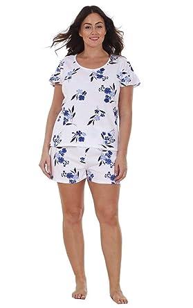 84f58449f39 Ex Highstreet Ladies Plus Size Floral Print Lace Curve PJ T Shirt Shorts  Vest Pyjamas  Amazon.co.uk  Clothing