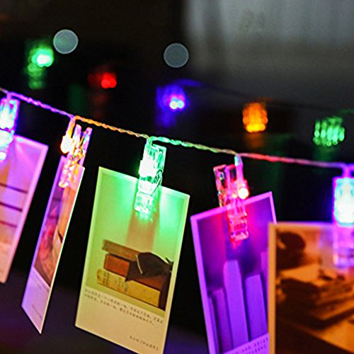 holidayli 20 led photo hanging clips string lights for