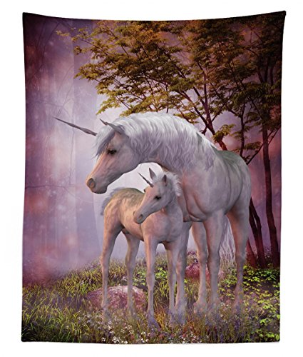 Lunarable Fantasy Tapestry Twin Size, Family of Unicorns with Mother and Foal in a Magical Rural Environment Misty Forest, Wall Hanging Bedspread Bed Cover Wall Decor, 68 W X 88 L inches, Multicolor ()