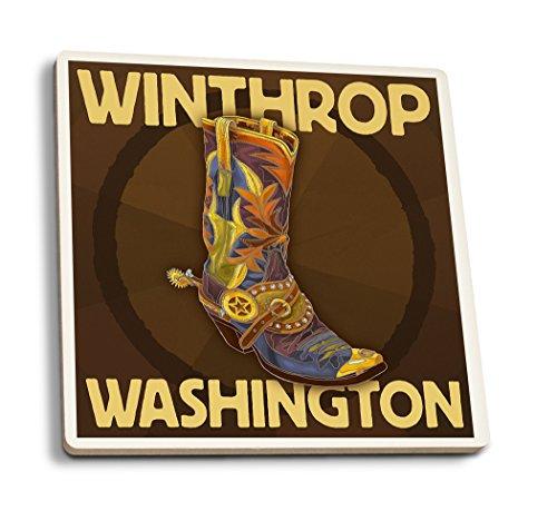 (Lantern Press Winthrop, Washington - Boot Design (Set of 4 Ceramic Coasters - Cork-Backed, Absorbent))