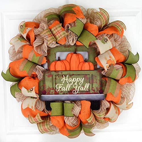 Happy Fall Y'all Wreath – Farm Truck Thanksgiving Front Door Wreath – Brown Orange Burlap Green