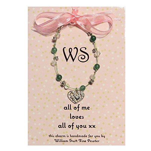 Magnifique Aventurine Amour Bracelet avec charm en forme de cœur en étain fait main, par William Sturt