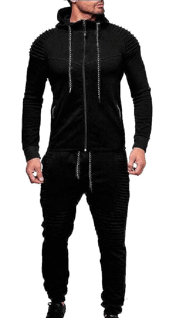 998bbd8f059de9 Black UNINUKOO Unko Men's Solid Solid Solid Zipper Jackets 2 Pieces Sport  Pants Tracksuit Outfit Set d6d4d0