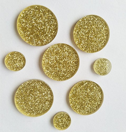 Set of 25pcs Gold Glitter Acrylic Discs, Laser Cut Round Circle 1/8INCH (0.5