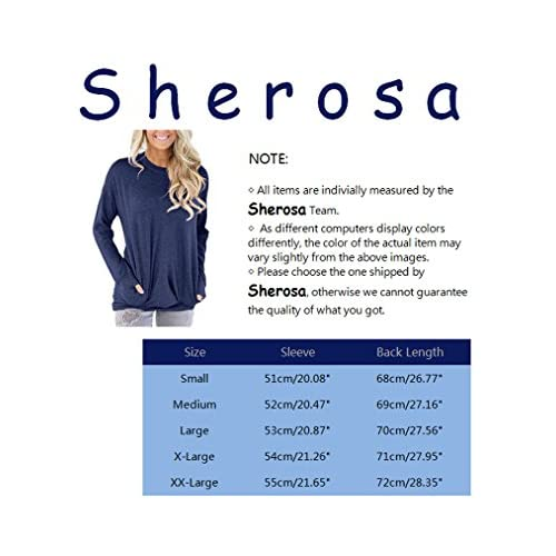 a481eeb292 Sherosa Women s Casual Long Sleeve Round Neck Solid Sweatshirt Loose Tunic  Shirt Blouse Tops With Pockets