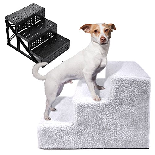 Legendog Pet Steps, Dog Stairs 3 Step Ladder Portable Pet Ladder with Stairs Cover for Dog Cat by Legendog