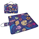 LORVIES Marine Life Pattern With Shells Picnic Blanket Tote Handy Mat Mildew Resistant and Waterproof Camping Mat for Picnics, Beaches, Hiking, Travel, RVing and Outings