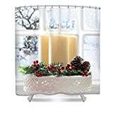 Pixels Shower Curtain (74'' x 71'') ''Christmas Candles Display''