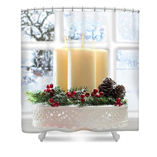 Pixels Shower Curtain (74'' x 71'') ''Christmas Candles Display'' by Pixels